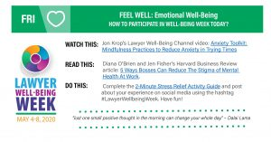 Lawyers Well-Being Friday: FEEL WELL